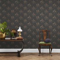 Contemporary wallpaper / floral / black / blue