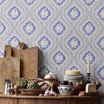 Contemporary wallpaper / patterned / black / blue