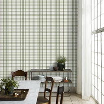 Contemporary wallpaper / plaid / blue / green