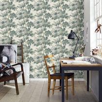 Contemporary wallpaper / floral / blue / green