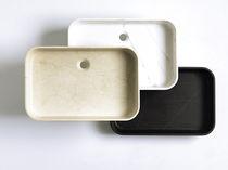 Countertop washbasin / rectangular / natural stone