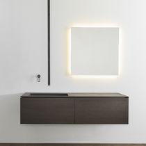 Wall-mounted washbasin / rectangular / natural stone / solid wood