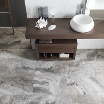 Marble stone slab / polished / for interior fittings / gray