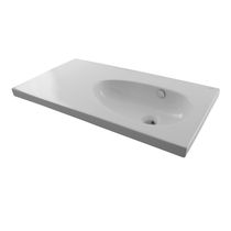 Wall-mounted washbasin / rectangular / ceramic / contemporary
