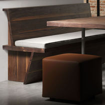 Contemporary bench / solid wood / with backrest