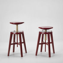 Contemporary stool / solid wood / adjustable-height