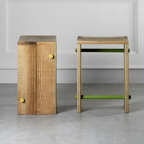 Contemporary stool / wooden / with footrest
