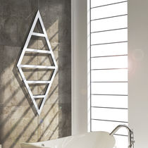 Hot water towel radiator / steel / stainless steel / chrome