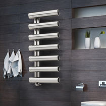 Hot water towel radiator / electric / steel / original design