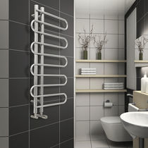 Hot water towel radiator / steel / chrome / design