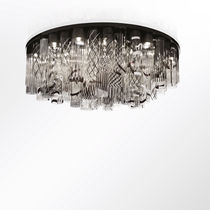 Contemporary ceiling light / round / blown glass / Murano glass