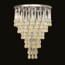 Contemporary ceiling light / round / metal / blown glass