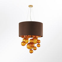 Pendant lamp / contemporary / glass / fabric