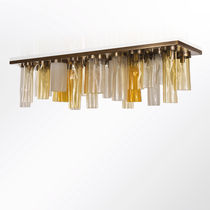 Contemporary ceiling light / rectangular / metal / blown glass