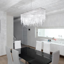 Contemporary ceiling light / rectangular / crystal / LED