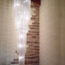 Contemporary ceiling light / round / crystal / LED