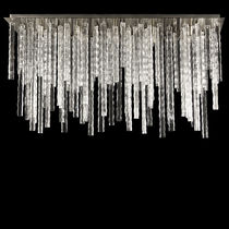 Contemporary ceiling light / rectangular / Murano glass / LED
