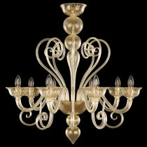 Traditional chandelier / blown glass / Murano glass / incandescent