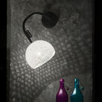 Contemporary wall light / stone / wool / steel
