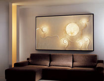 Contemporary wall light / wood / steel / in Nebulite®