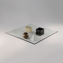 Coffee table / original design / glass / square