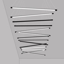 Hanging light fixture / LED / linear / methacrylate