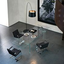 Contemporary dining table / glass / tempered glass / curved glass