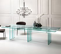 Contemporary dining table / glass / rectangular / transparent