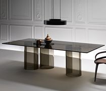 Contemporary dining table / glass / curved glass / rectangular