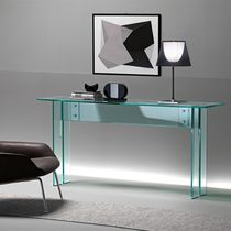Contemporary sideboard table / glass / rectangular / transparent