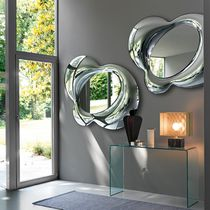 Wall-mounted mirror / contemporary / silver