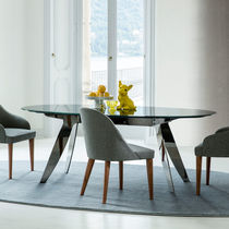 Contemporary dining table / teak / crystal / oval
