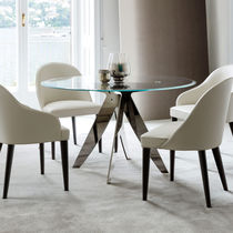 Contemporary dining table / crystal / round
