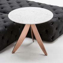 Contemporary coffee table / copper-coated steel / marble / round
