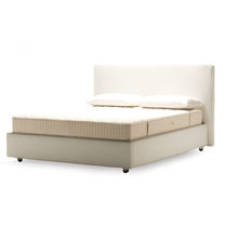 Double bed / contemporary / leather / fabric