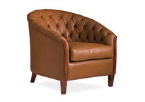 Chesterfield armchair / wooden / fabric / leather