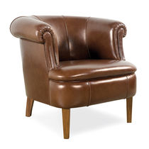 Traditional armchair / fabric / leather