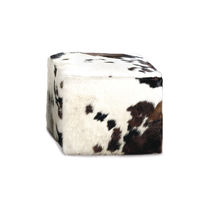 Contemporary pouf / fabric / leather / cowhide
