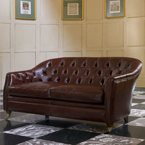 Traditional sofa / leather / fabric / 2-seater