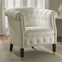 Chesterfield armchair / fabric / leather