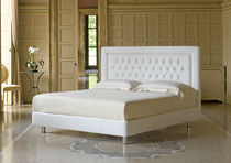 Double bed / traditional / leather / fabric