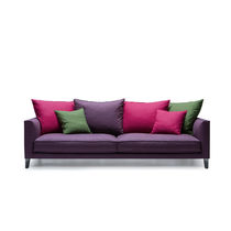 Contemporary sofa / leather / fabric / 4-seater