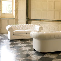 Sofa bed / Chesterfield / leather / fabric