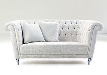 Chesterfield sofa / leather / fabric / 3-seater