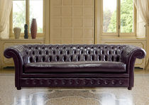 Chesterfield sofa / leather / fabric / 4-seater