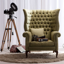 Classic armchair / fabric / leather / privacy
