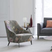 Contemporary armchair / velvet / cotton / linen