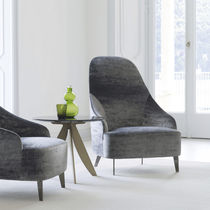 Contemporary armchair / fabric / leather / high-back