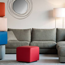 Contemporary pouf / leather / on casters / with storage compartment