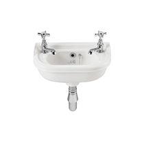 Wall-mounted washbasin / porcelain / traditional